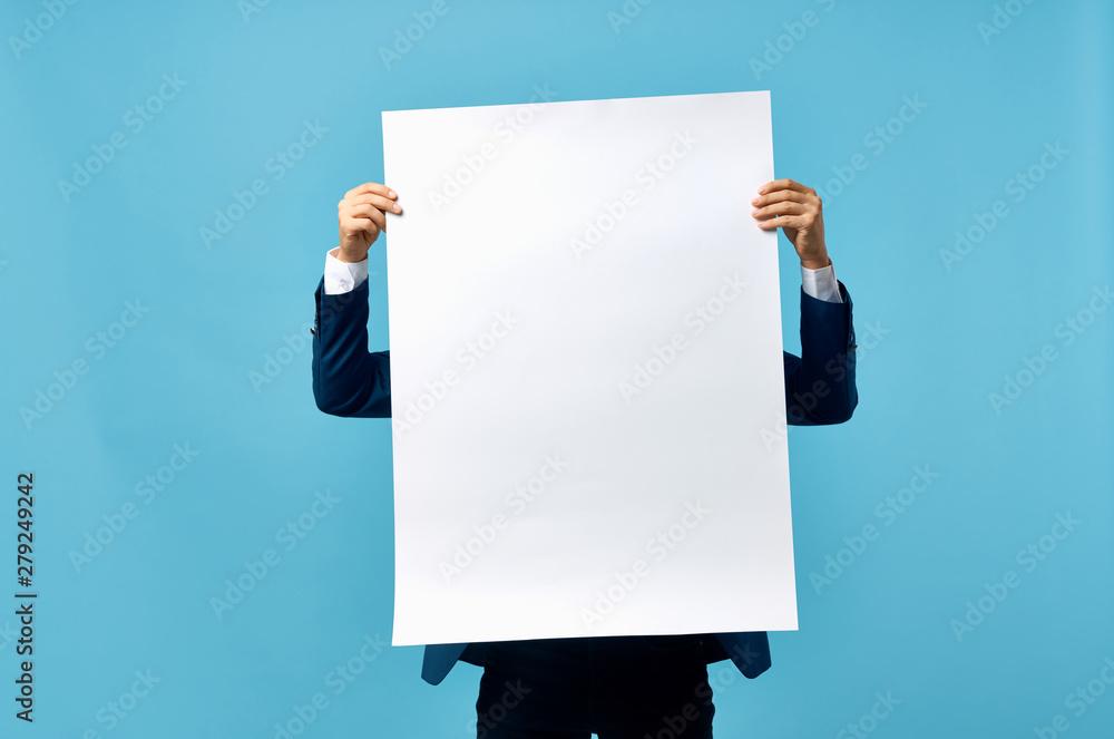 Fototapeta 3d man holding blank board