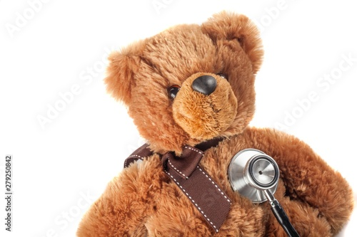 Deurstickers Snelle auto s Teddy bear getting a medical checkup