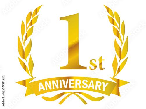 Fotografie, Obraz 月桂樹をモチーフにしたアニバーサリーのゴールドメタリックのロゴ_1周年・月桂冠・ローレル_1st Anniversary logo