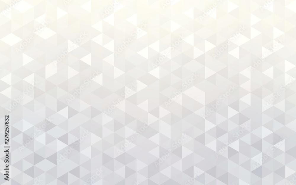Fototapety, obrazy: Pearl white shiny geometric wallpaper. Light crystal shapes pattern.
