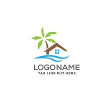 Beach Property Logo Design Template