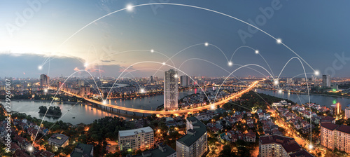 Smart city and wireless communication network concept. Digital network connection lines - 279261087