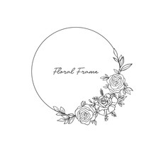 Delicate Hand Drawn Vector Round Floral Frame With Leaves And Herbs