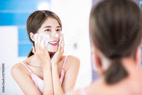 Fototapeta  beauty woman clean her face