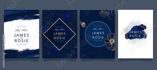 Cuadros en Lienzo Navy and indigo Wedding Invitation, floral invite thank you, rsvp modern card De