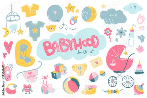 Newborn infant themed cute doodle set Canvas Print