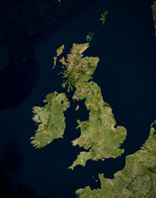 High Resolution Satellite Image Of UK & Ireland (Isolated Imagery Of North Europe. Elements Of This Image Furnished By NASA)