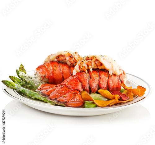 Fotografia Grilled Lobster Tails Served With Asparagus
