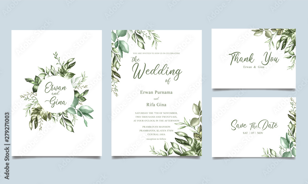 Fototapeta watercolor wedding invitation card template