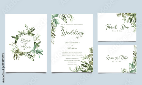 watercolor wedding invitation card template Fototapeta
