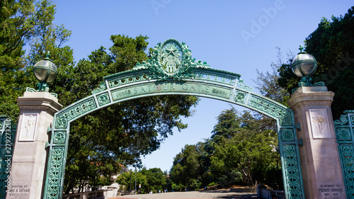 Historic Sather Gate on the campus of the University of California at Berkeley is a prominent landmark leading to Sproul Plaza