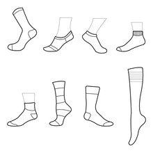 Sock Clipart Sock Drawing Isolated On White Background Vector Illustration