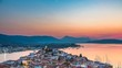 Panoramic aerial view of Poros, Greece - Timelapse of summer sunset