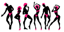 Group Of Dancing People Silhouettes, Sexy Dancers, Men And Women, Go-go Boys And Girls, Strippers, Vector Illustration