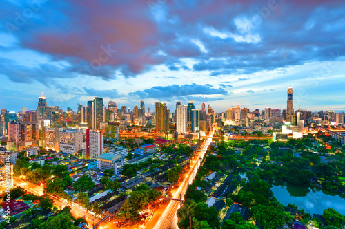 Fototapety, obrazy: Twilight view cityscape commercial modern building and condominium in downtown Bangkok ,Thailand