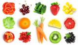 Collection of fruits and vegetables. Top view