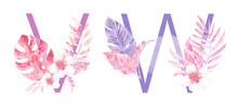 Watercolor Hand Drawn Tropic Letters Monograms Or Logo. Uppercase V, W With Jungle Herbal Decorations. Palm And Monstera Leaves, Flowers And Branches.