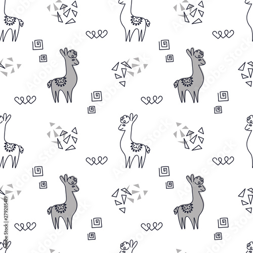 Seamless background. Cute llamas or alpacas on a white background. Vector doodle illustration for fabric, textile, Wallpaper