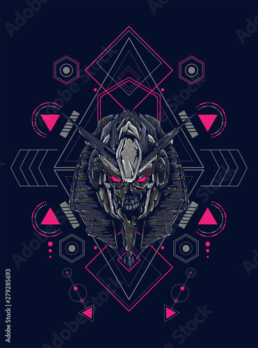 Photo Mecha anubis heal lgoo illustration with sacred geometry pattern as the backgrou