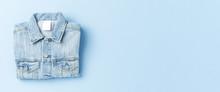Jeans Jacket On Blue Background