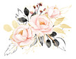 Leinwanddruck Bild - Watercolor flowers, floral bouquet with gold gray leaves and blush pink peonies. Perfectly for print on greeting card, wedding invitation, poster. Hand drawing. Composition isolated on white.