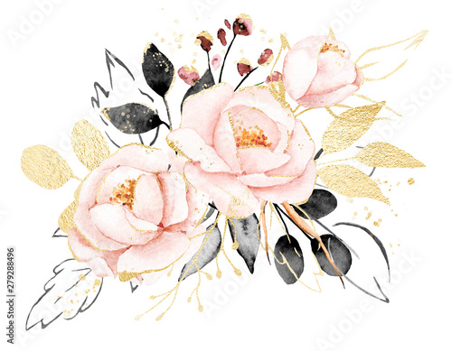 Valokuvatapetti Watercolor flowers, floral bouquet with gold gray leaves and blush pink peonies