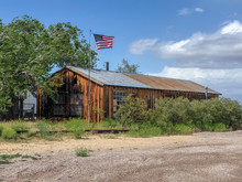 Old Wood Ranch With American F...