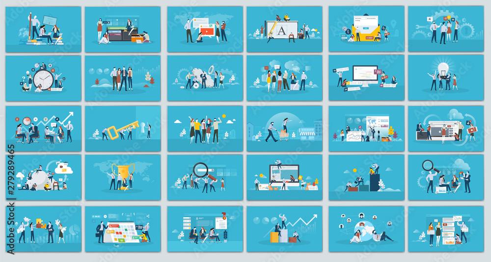 Fototapeta Collection of flat design illustration- Business concept, Set of web page design templates for business, finance and marketing. Modern vector illustration concepts for website.