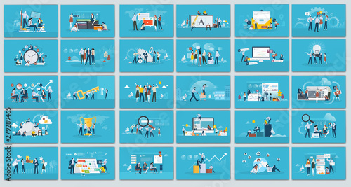 Obraz Collection of flat design illustration- Business concept, Set of web page design templates for business, finance and marketing. Modern vector illustration concepts for website. - fototapety do salonu