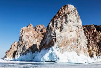 Rocks of Cape Sagan-Khushun or Three brothers, Olkhon island, lake Baikal. Eastern Siberia, Russia