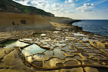 Salt Evaporation Pans On Gozo,...