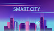 Smart city neon glowing cityscape for website and mobile website. Vector illustration.