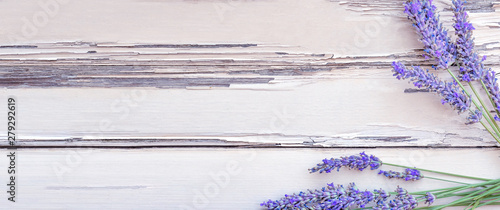 Foto op Aluminium Lavendel Summertime - lavender flowers. Bunch of lavender flowers on white rustic wooden background.