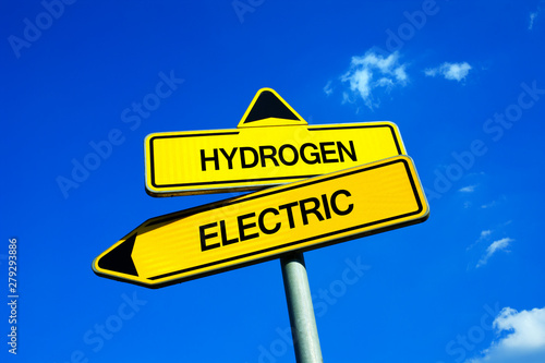 Photo Hydrogen vs Electric - Traffic sign with two options - decision and choice betwe