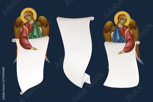 Archangels with rolls of parchment Wallpaper Mural