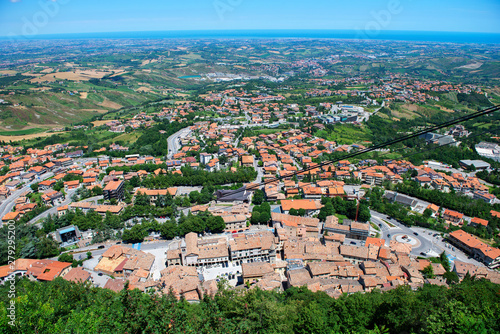 Panoramic view from from the observation deck of San Marino, european dwarf city state which is inside Italy