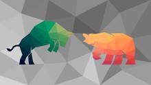 The Green Bull Vs Orange Bear Fighting On The Polygonal Background. Vector, EPS 10