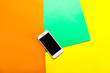 canvas print picture - Modern mobile phone on color background