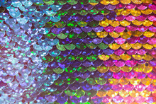 Shiny Colorful Sequin Dress Detail Texture. Neon Disco Color