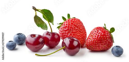 fresh berries on white background - 279299407