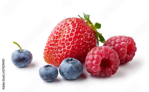fresh berries on white background - 279299417