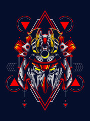 Mecha head logo illustratio...