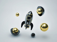 Abstract Futuristic Background With Black Metal Rocket And Glossy Spheres