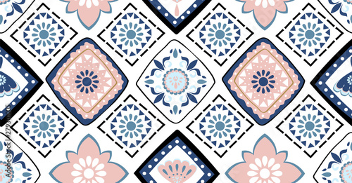 Fotografija  Blue pink geometric seamless pattern in African style with square,tribal,circle