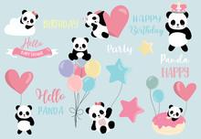 Pastel Panda Set With Pandacor...