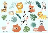 Fototapeta Fototapety na ścianę do pokoju dziecięcego - Safari object set with fox,giraffe,zebra,sloth,llama,leaves. illustration for sticker,postcard,birthday invitation.Editable element