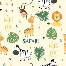 Cute Safari Background With Gi...
