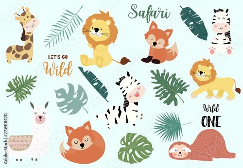 Zestaw obiektów Safari z lisem, żyrafą, zebrą, leniwcem, lamą, liśćmi. ilustracja naklejki, pocztówki, zaproszenia urodzinowe. element edytowalny
