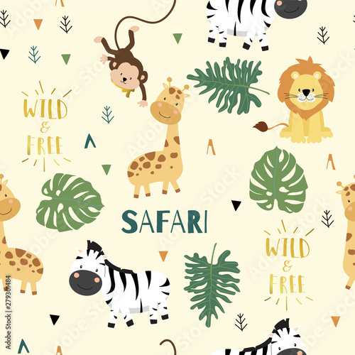 Tapety do pokoju chłopca  cute-safari-background-with-giraffe-zebra-lion-monkey-leaves-vector-illustration-seamless-pattern-for-background-wallpaper-frabic-include-wording-wild-and-free-editable-element