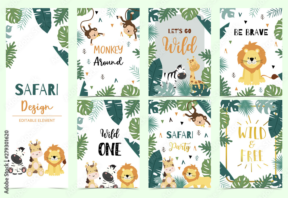 Fototapeta Green collection of safari background set with lion,zebra,giraffe,monkey.Editable vector illustration for birthday invitation,postcard and sticker.Wording include wild and free